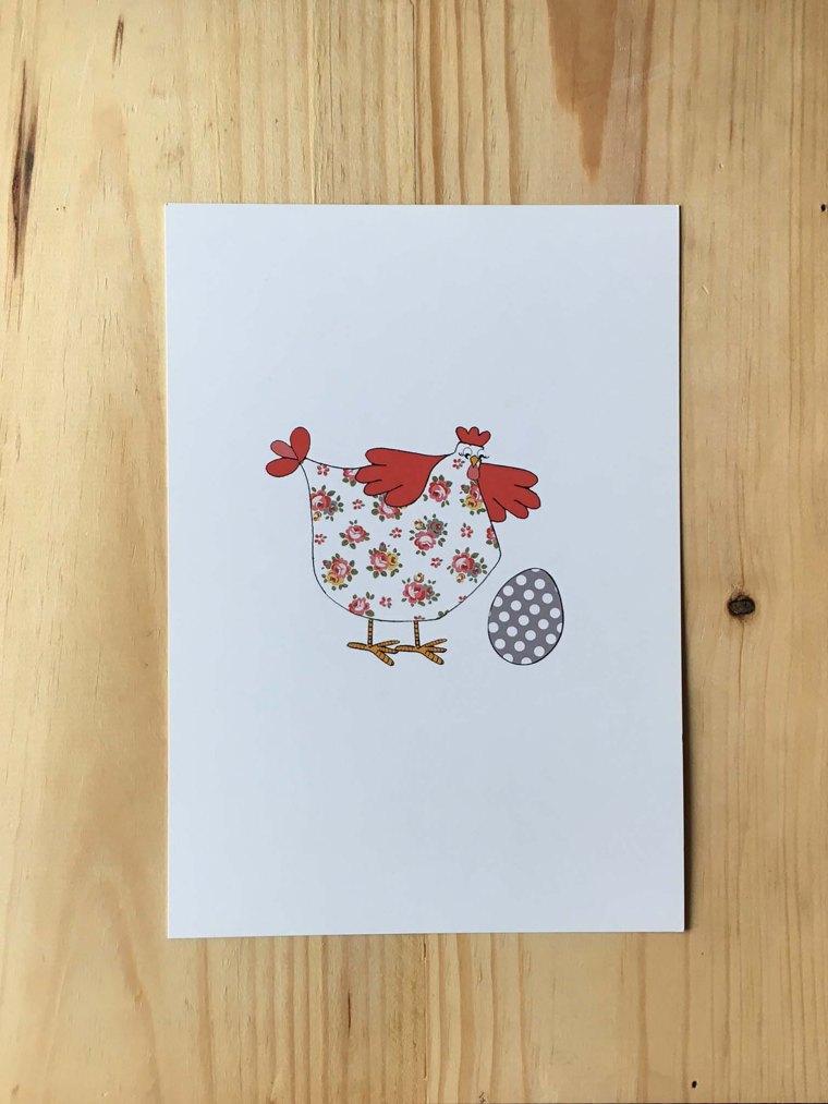 poule avec roses